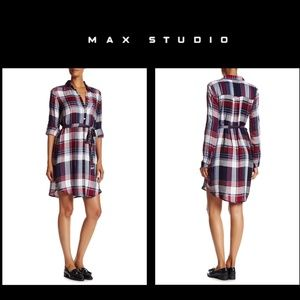 Max Studio Plaid Button Down Belted Shirt Dress